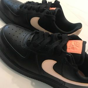 Air Force One Solid Black with Blush swoosh